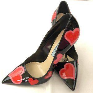 Authentic Prada Black Patent Leather Pumps Hearts
